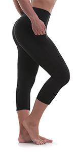 Women's Yoga capris High Waisted Crop Workout Running Leggings with Side Pocketed Tummy Control