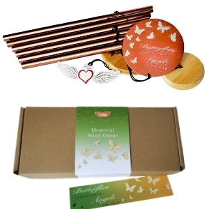 Memorial Wind Chime for Loss of Loved One - bronze with the packaging