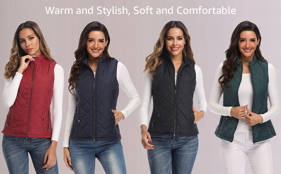 women vests fashion Quilted Lightweight Jackets