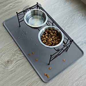 cat food mat with Raised Bowls