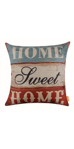 "LINKWELL 18""x18"" Vintage Wood Slat Home Sweet Home Pillow Cover"