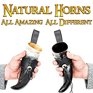High quality authentic leather medieval Viking drinking horn genuine renaissance D&D LARP SCA