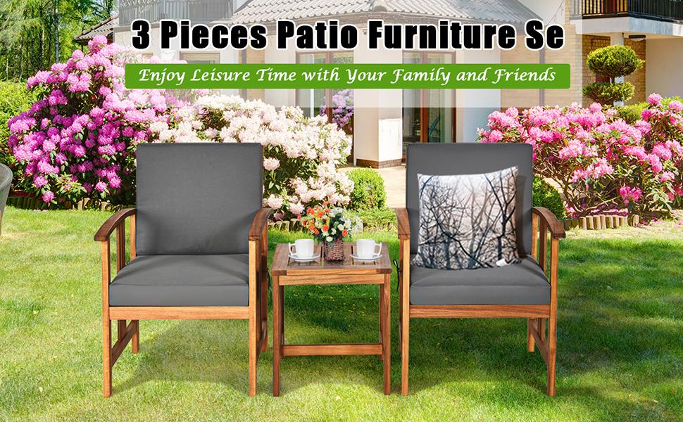 3 piece wood outdoor sofa set
