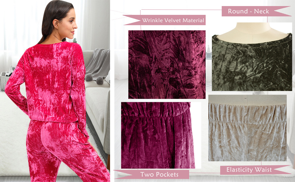 Details about  /Women Solid Coral Velvet Warm Long Sleeve Tops Loose Pants Pajamas Tracksuit US