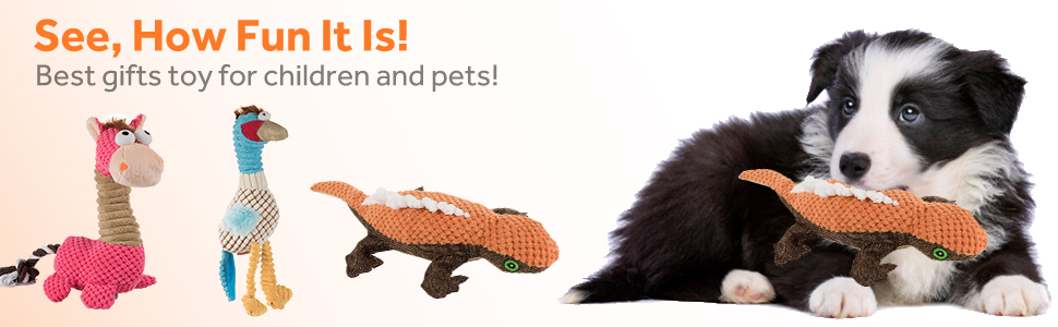 Dog-Toys-Set Squeaky Dog Plush Toys 5 Packs Durable Chew Toys Teeth Cleaning Interactive Training