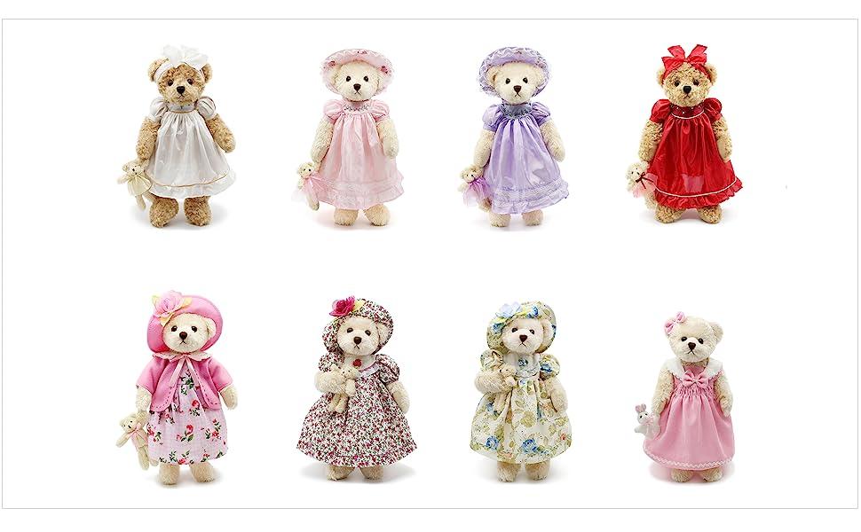 8 small pink stuffed teddy bears