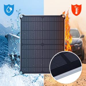 SUAOKI 16W 18V Cargador Panel Solar de Batería Coche, Placa solar con enchufe para encendedor de cigarrillo, Pinzas de cocodrillo y diodo de bloqueo ...