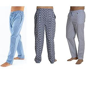 El Búho Nocturno - Pantalón de Pijama Suelto de Hombre   Pantalón de Pijama Caballero, Entretiempo, clásico, a Cuadros   Ropa de Dormir para Hombre - Viyela, 100% algodón - Talla XL -