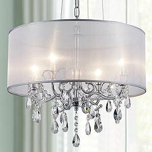 Bestier Modern Elegant Crystal Pendant Drum Chandelier 4 Light Chrome Lighting Fixture LED Ceiling Light Dia 19 in x H 18 in