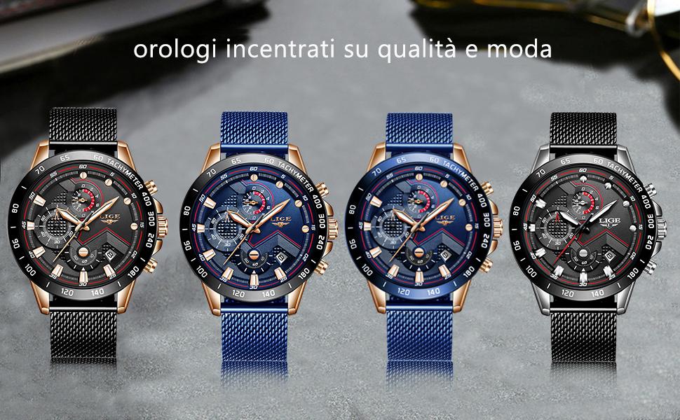 Gli orologi da uomo LIGE vestono l'orologio da polso al quarzo analogico