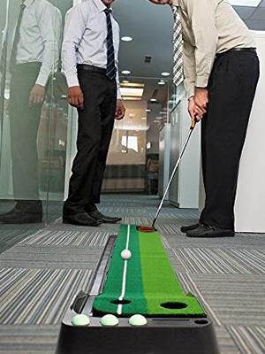golf putting mat with ball return system