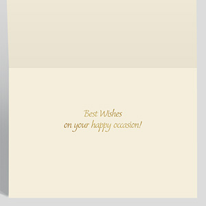 Shows the inside of an anniversary card with a greeting sentiment stamped in gold foil.