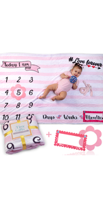 pink baby milestone blanket