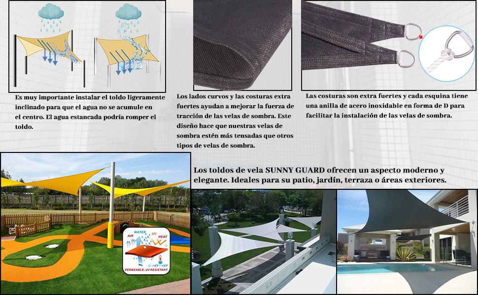 SUNNY GUARD Toldo Vela de Sombra Rectangular 2x4m HDPE Transpirable protección UV para Patio, Exteriores, Jardín, Color Antracita: Amazon.es: Jardín