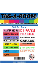 3 4 Bedroom house moving labels stickers color-coded