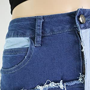 buttom zipper fly patched jeans for women
