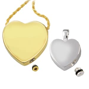 heart pendants with screw closures for urn compartment ashes