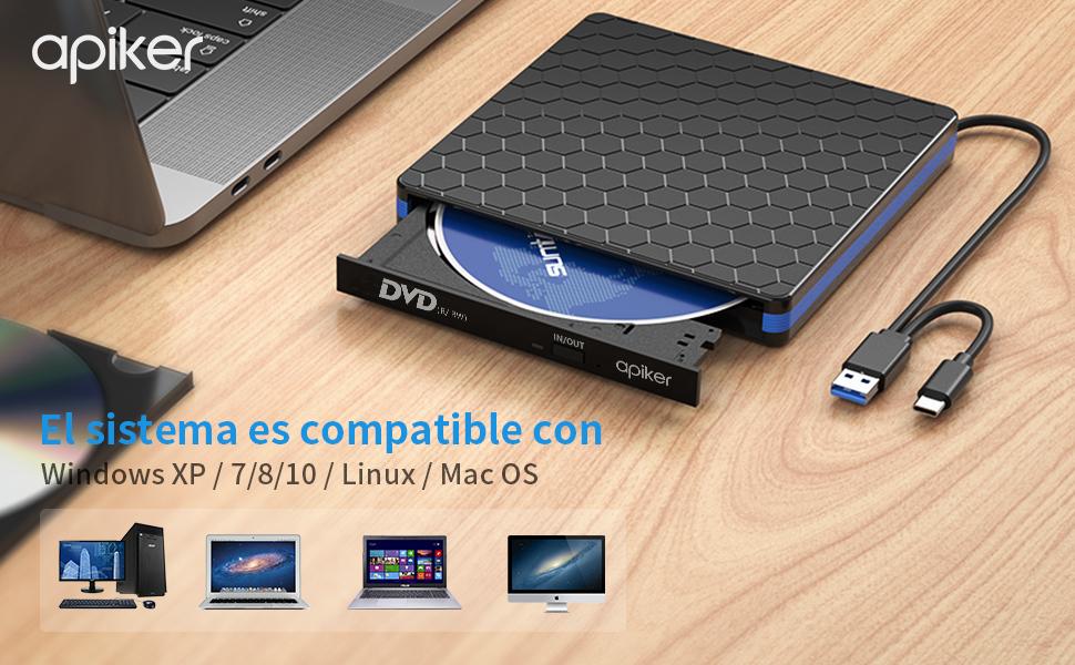 Lector CD DVD Externo USB 3.0 - Apiker Grabadora DVD Externa, Caja Externa DVD con Interfaz Tipo-C & USB, Disquetera Externa Compatible con Windows XP / 2003 / Vista / 7/8.1/10, Linux, Mac OS: Amazon.es: Electrónica