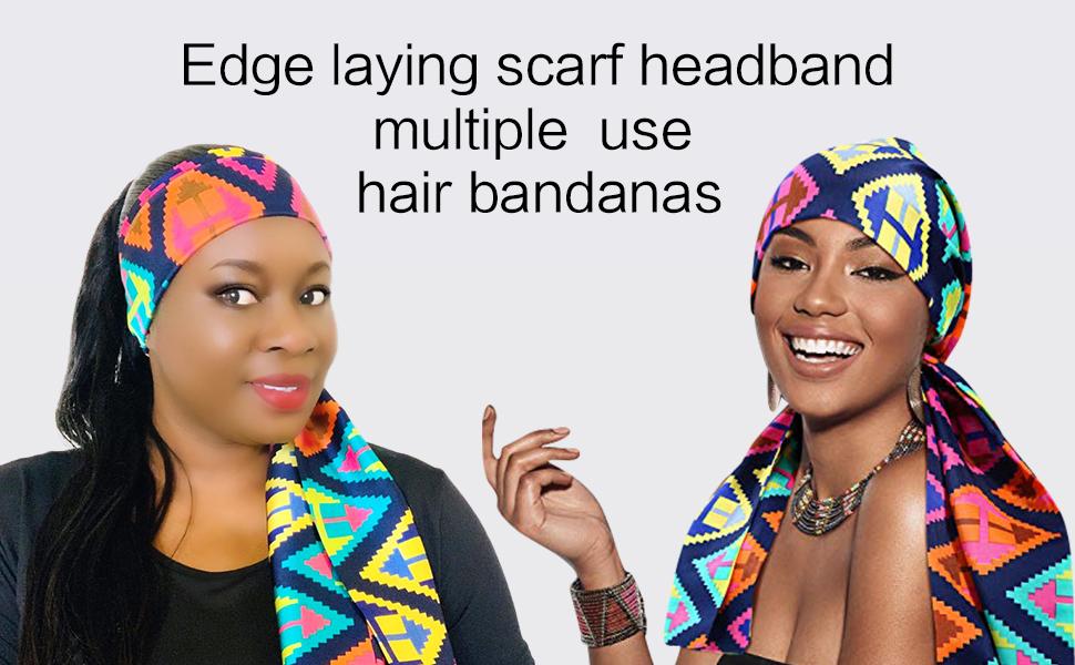 Edge laying scarf headband multiple use hair bandanas
