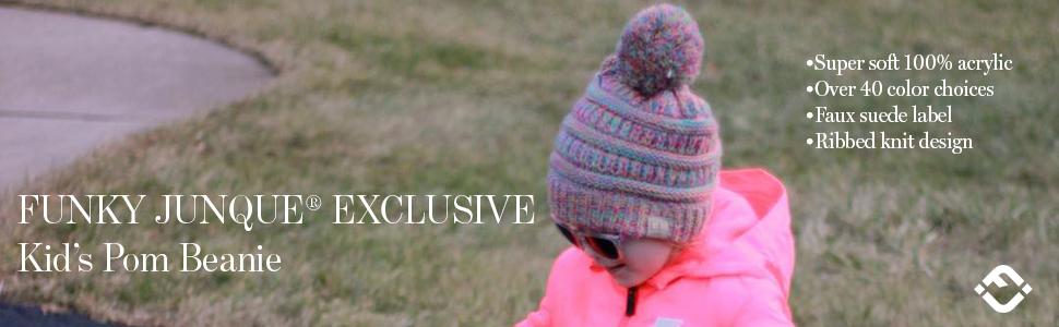 cc kids beanie toddler childrens girls boys pom pompom hat with puff ball puffball knit winter cap