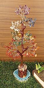 Crocon Seven Chakra Natural Healing Gemstone Crystal Bonsai Fortune Money Tree