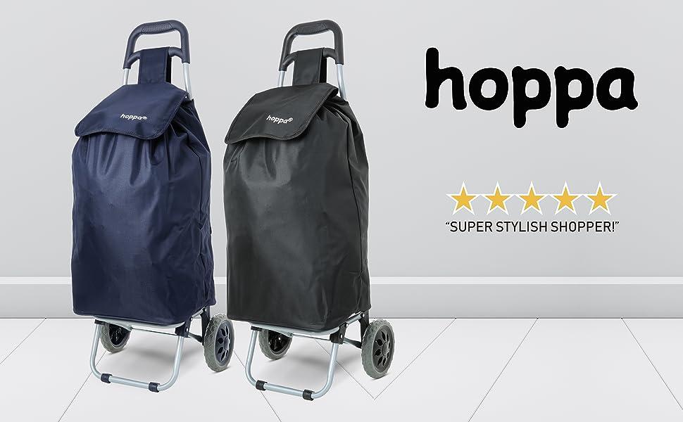 Hoppa Cabas Shopping Ultra l/éger Capacit/é de 2 Roues pour Chariot /à Bagages
