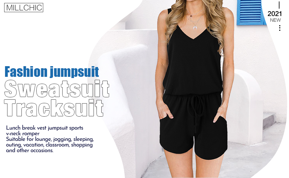 MILLCHIC Womens Summer V Neck Sleeveless Tank Top Spaghetti Strap Drawstring Elastic Waisted Short Jumpsuits Rompers