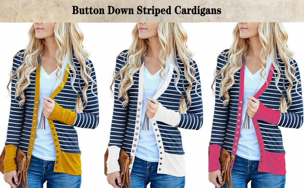 Richcoco Women's Fahion V Neck Button Down Striped Cardigan Sweater