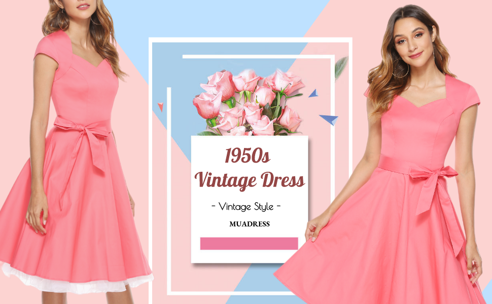 Women's Retro 1950s Cap Sleeve Vintage Rockabilly Cocktail Swing Dress