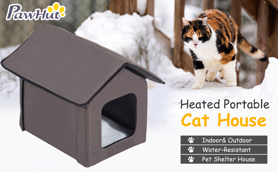 Pet Supplies Indoor Outdoor Portable Water Resistant Heated Cat Shelter House Pawhut Large Kitty Home Cat Houses Condos