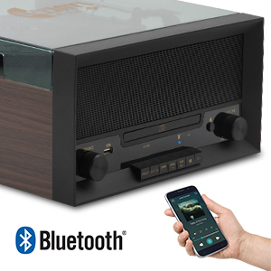 7.Retro 3-Speed Bluetooth Turntable with Stereo Speakers