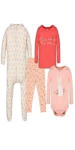 100/% Organic Cotton Baby Clothes Wink /& Blink Organic Baby Pajamas 2-Pack Top /& Bottom Set