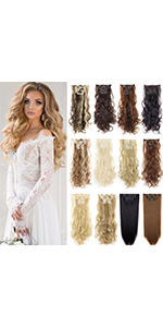Clip in Hair Extensions 6Pcs 16 Clips Curly Wavy Straight Thick Clip on Hairpieces