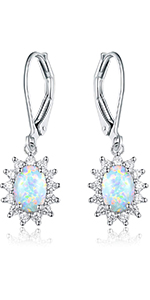 opal earrings,leverback earrings,earrings for women,earrings for girls ,birthstone earrings