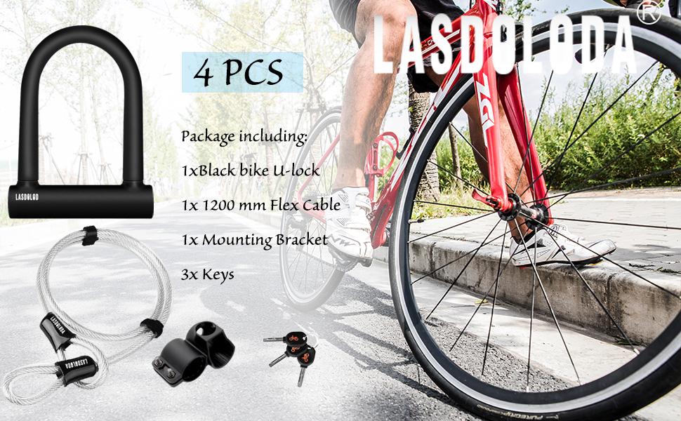 Fahrrad-Bügelschloss, Hochleistungs-Hochsicherheits-D-Schäkel-Fahrradschloss mit 1,2 m Stahlkabel