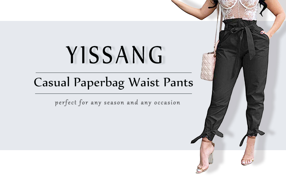 yissang stylish casual paperbag waist pants work trousers for women
