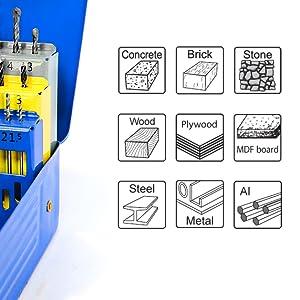 Samp;R Multi-Purpose Functional Concrete Stone Masonry Masonary Wood Rock Stone Metal Drill Bit Set