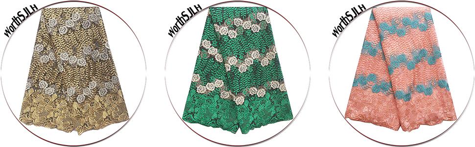 Nigerian Wedding Lace Fabric Green Royal Blue Lace Fabric Material 2019 New Tulle Lace Fabric 5 Yard