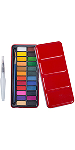 Watercolour Paint 24-Colour with Water Brush Pen Red Tin Exterior