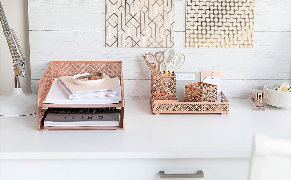 Rose Gold Desk Organinizer
