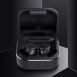 black true wireless earbuds