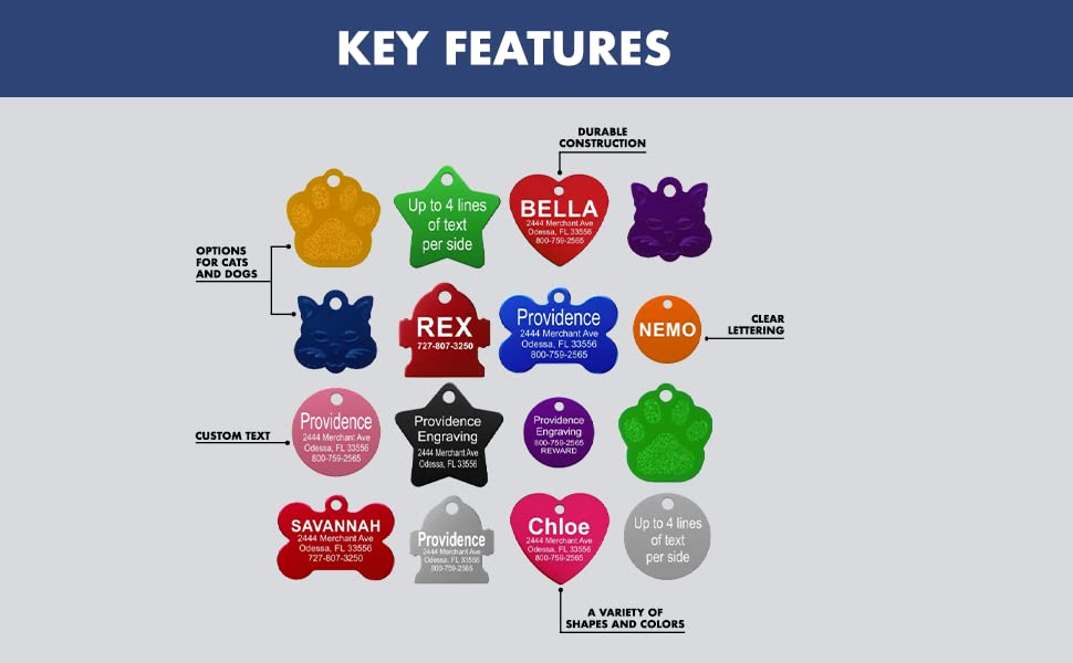 key features dog tags