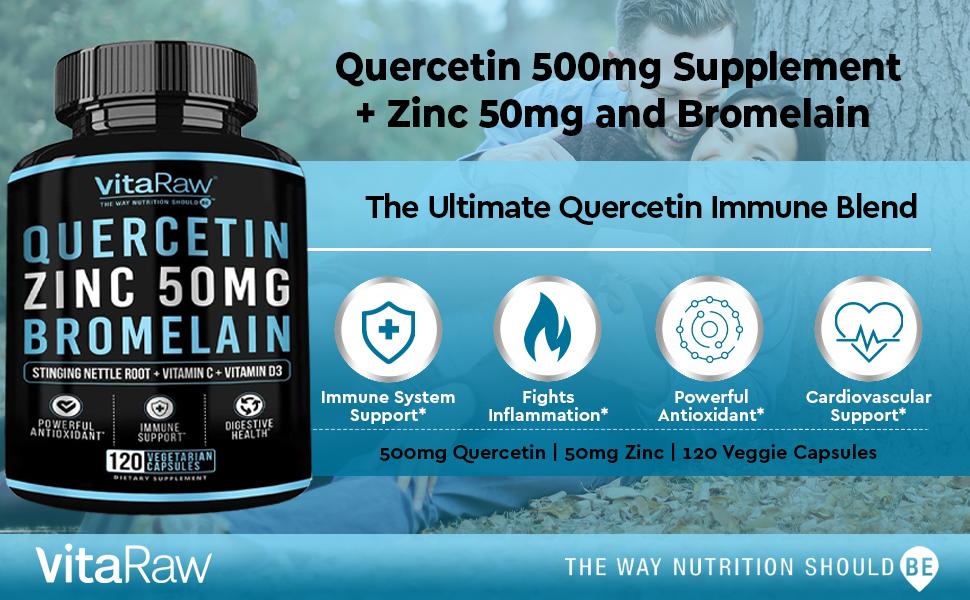 Quercetin 500mg Supplement, Zinc 50mg, Vitamin C, Vitamin D3 for Immune support