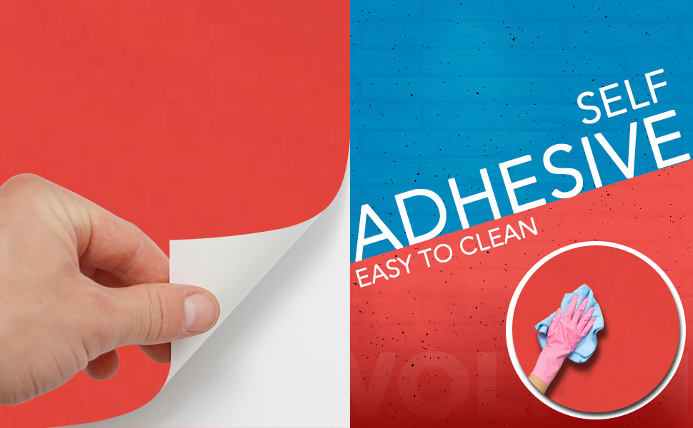 solid red color wall stickers wallpaper, anti oil, decal, easy to clean, DIY, Self adhesive PVC