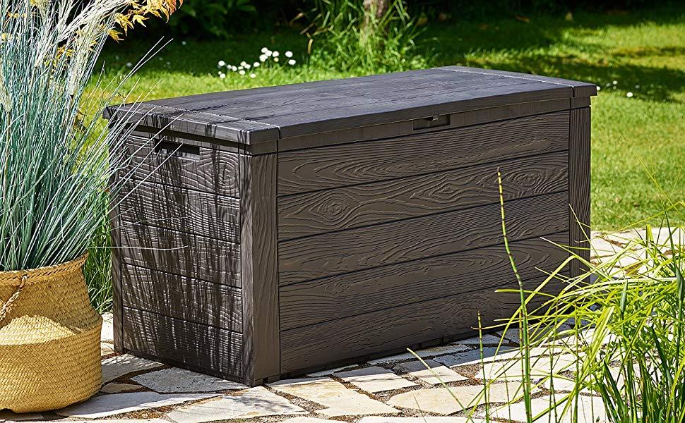 Deuba Baúl de almacenaje de plástico aspecto de madera 120 x 45 x 57 cm Marrón antracita con tapa abatible jardín: Amazon.es: Jardín