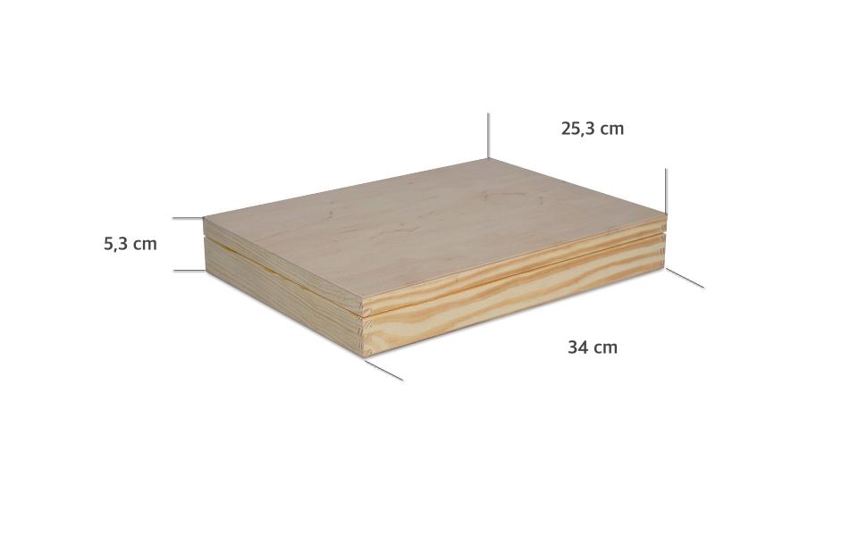 Creative Deco A4 Caja Madera para Decorar con Tapa   34 x 25,3 x 5 ...