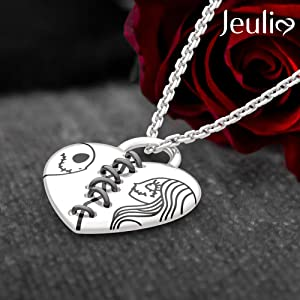 Jeulia 925 SIlver jack and sally necklace pendant necklace christmas gift