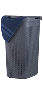 Grey deluxe laundry hamper large with lid plastic