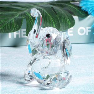 Décoration Verre Cristal Animal Éléphant Paire Avec Apple Ornement Figurines Cadeau
