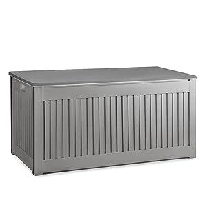 909 Outdoor Aufbewahrungsbox Fur Draussen Garten Geeignet Auflagenbox Grau Mit Deckel Wetterfest Abschliessbar In Holzoptik Nutzvolumen 270 Liter Premium Amazon De Garten